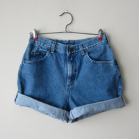Cuffed High Waisted Denim Shorts Made from Vintage 90s Lee Jeans -- Size 6 -- Grunge Revival Fashion