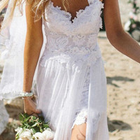 Spaghetti Straps White Lace Chiffon Backless Beach Wedding Dress