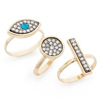 Topshop Rhinestone Rings (Set of 3) | Nordstrom