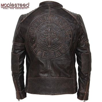 MAPLESTEED Genuine Cow Skin Vintage Leather Motorcycle Jacket Men's Leather Jacket Men Biker Jacket Male Leather Coat Winter 074