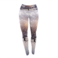 "Viviana Gonzalez ""Lone Tree Love II"" Orange White Yoga Leggings"