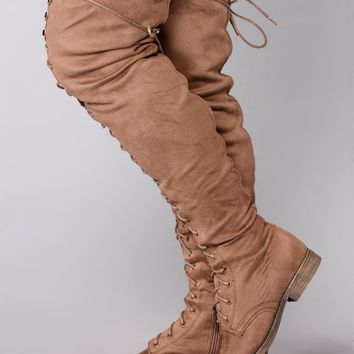 Tall Talk Flat Boot - Taupe