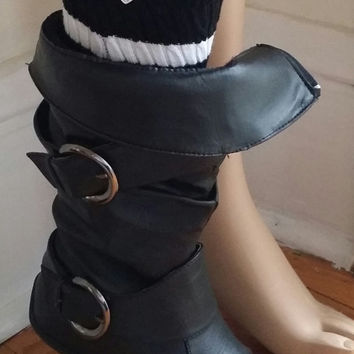 Upcycled boot cuff women's black and white stripes with 3 buttons.