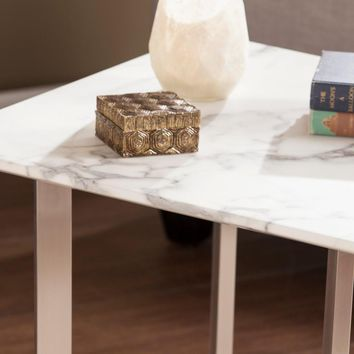 Wrexham Faux Marble End Table - Soft Ivory with Gray