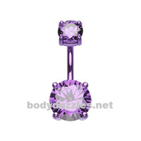Purple Colorline Gem Prong Sparkle Belly Button Ring Stainless Steel Body Jewelry