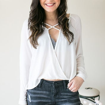 When Paths Cross Front Textured Top - White