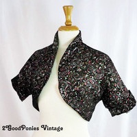Black Velvet Bolero, Vintage Jacket from the 1940's