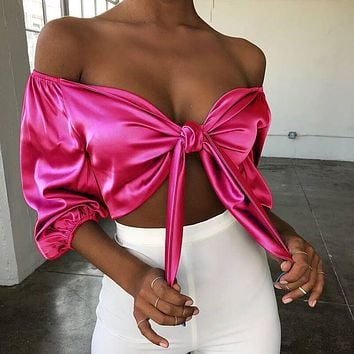 Fashion Women Sexy Off Shoulder Half Sleeve Pure Color V Collar Top Rose Red