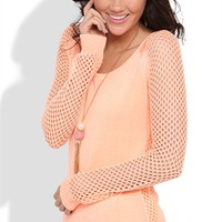 High Low Sweater with Open Stitch Sleeves and Split Hem