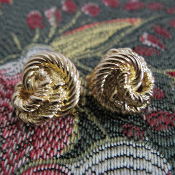 Vintage 80s Christian Dior Earrings Gold tone Round small Knots Designer Clip On