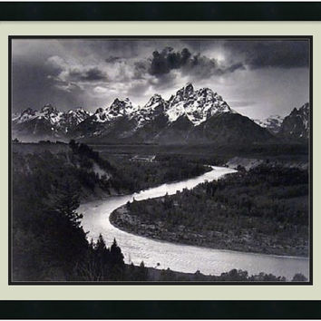 "0-001877>26x22"" Ansel Adams The Tetons and the Snake River Grand Teton National Park Wyoming 1942 Framed Print"