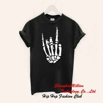 Unisex Skeleton Hand T Shirt Rock Party Metal Festival Concert FOB 5SOS Hallowen Top Tee Gift