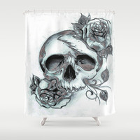 Skull & Roses Shower Curtain by Robin Curtiss | Society6