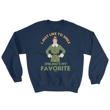 Smiling's My Favorite | Buddy The Elf Christmas Sweatshirt