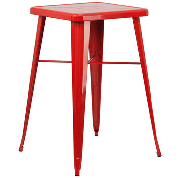 Square Red Metal Indoor-Outdoor Bar Height Table