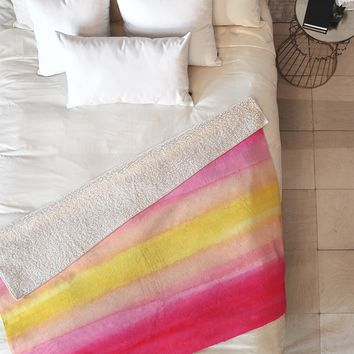 Joy Laforme Pink And Yellow Ombre Fleece Throw Blanket
