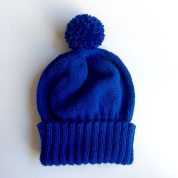 Royal blue knitted hat - blue knitted hat for adult - adult knitted hat - blue pom pom hat