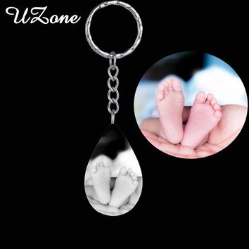 UZone Custom Name Water Drop Sheaped Keychain Stainless Steel Engrave Photo Keychain For Best Friends Gift