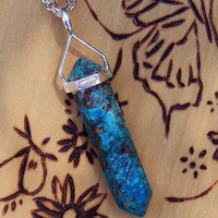 Chrysocolla Pendulum Necklace . Feminine Empowerment, Patience, Helps Relationship Issues, Pagan WIcca Wiccan Witchcraft