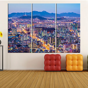 Seoul night wall art canvas Print, extra large wall art, large Seoul skyline canvas print city Skyline photo print, korea iki52