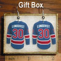 Henrik Lundqvist 30 New York NY Rangers Hockey Jersey Earrings in Gift Box