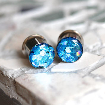 Blue Glitter Gauges, Sparkle Plugs, Blue Plugs, Glitter Plugs, Summer Plugs - sizes 0g, 00g, 7/16, 1/2, 9/16, 5/8, 3/4, 7/8, 1""