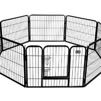 BestPet Heavy Duty Pet Playpen Dog Cat Fence B Exercise Pen, 24-Inch, Black