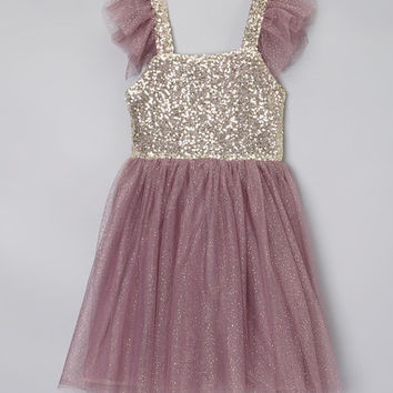 Plum & Gold Sequin Dress - Toddler & Girls | zulily