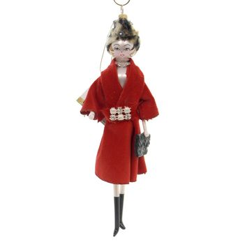 De Carlini LADY WITH RED COAT Glass Italian Do7515m