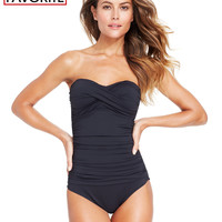 Anne Cole Twisted-Front Bandeau One-Piece Swimsuit