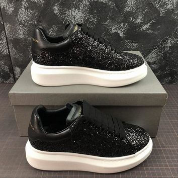 Alexander Mcqueen Oversized Black Glittered Calf Leather Lace-up Sneakers - Best Online Sale