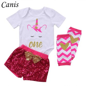 New Infant Baby Girls Unicorn Romper Tops +Sequins Pants Outfits Set Long Sleeve Party Shirt Clothes 0-24M 2017