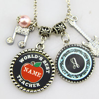 Teachers Necklace,World Best Teachers, Music Teachers Keychain,Red apple, Custom initials, Music  Note, Guitar, Personalized Gifts for her