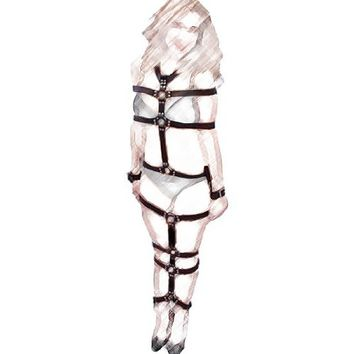 TORTURE Full Body Leather Harness / Restraint / Bondage , Black Belts , Adjustable . Not for Everyone - for Real Fetish Kinky Sex / Torchering Games . Made in USA
