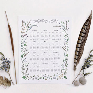 2014 Botanical Calendar - illustration by Dara Muscat. White card stock. Wall calendar. 1 Page. Home office. Christmas gift. 8.5 x 11