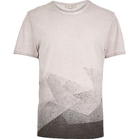 River Island MensBrown faded shape t-shirt