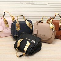 """Michael Kors"" Personality Fashion All-match Ribbon Single Shoulder Messenger Bag MK Women Handbag Saddle Bag"
