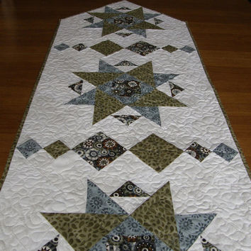 Contemporary Quilted Table Runner Blue Green Cream Quilt Quilted Table Topper