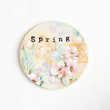 Wooden gift coaster with printed typewriter style text 'Spring' and pastel floral background - 1 pcs, gift ideas, handmade