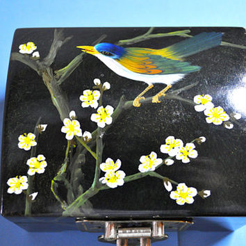 HONG KONG Vintage Mid Century, Hand Painted Bluebird and Cherry Blossoms, Black Lacquer Jewelry Trinket Box, Nice! #A434