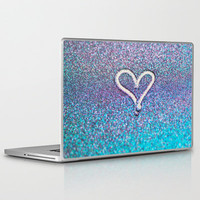 glitter heart- photograph of glitter  Laptop & iPad Skin by Sylvia Cook Photography | Society6