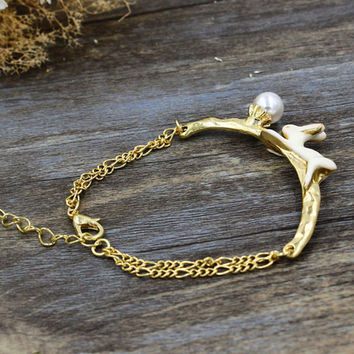 Golden Rabbit Rhinestone Chain Bracelet