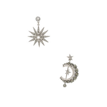 Oscar de la Renta Moon & Stars Earrings in Black Diamond | FWRD