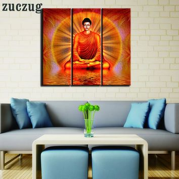3 Piece Buddha Picture Landscape Oil on Canvas Wall Art - Famed or No Frame