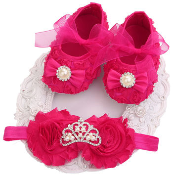 Christening Baptism Newborn Baby Girl Shoes Headband Set,Xmas Toddler Baby Shoes Branded First Walker,Booties Shoes For Girls