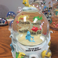 Dr. Seuss themed Snow Globe, One fish two fish red fish blue fish, Snowglobe