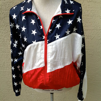 90s Stars and Stripes Nylon Jacket USA Flag Patriotic Slouchy Windbreaker Unisex Size Small 4th of July