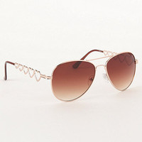 With Love From CA Heart Arm Aviator Sunglasses at PacSun.com