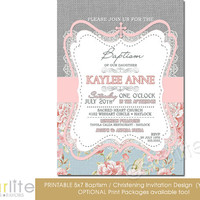 Baptism Invitation - Girl - burlap lace gray pink blue floral - 5x7 vintage style, typography, christening - unique invitation - You Print