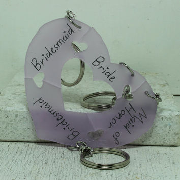 Bridal party Key chains 4 piece set lavender  acrylic Heart puzzle pieces